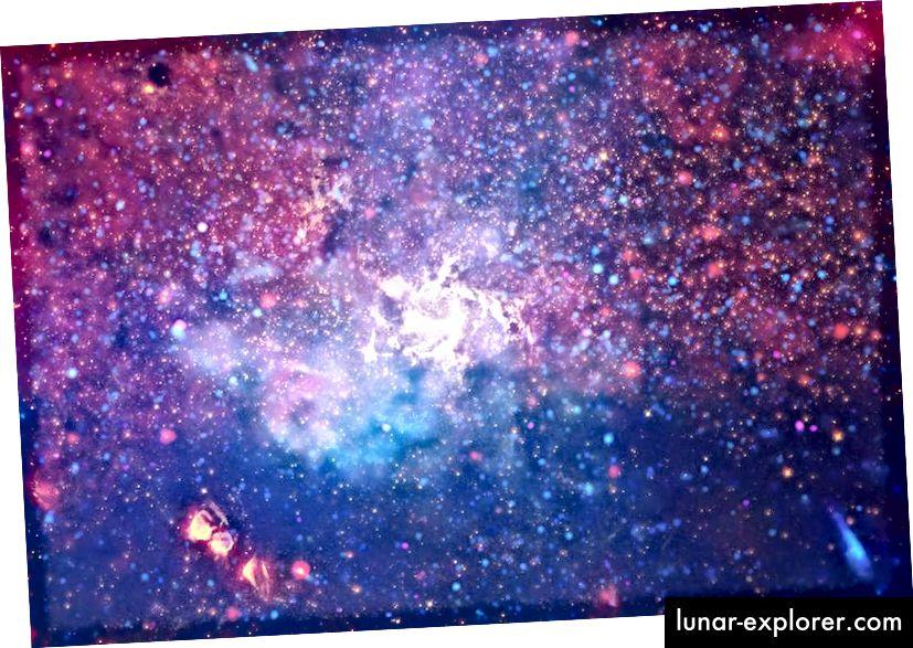 Diese Multiwellenlängen-Ansicht des galaktischen Zentrums der Milchstraße reicht vom Röntgenstrahl über die Optik bis ins Infrarot und zeigt Schütze A * und das etwa 25.000 Lichtjahre entfernte intragalaktische Medium. Das Schwarze Loch hat eine Masse von ungefähr 4 Millionen Sonnen, während die Milchstraße als Ganzes jedes Jahr weniger als einen neuen Sonnenstern bildet. Später in diesem Jahr wird das EHT mithilfe von Funkdaten den Ereignishorizont des Schwarzen Lochs auflösen. (Röntgen: NASA / CXC / UMASS / D. WANG ET AL.; OPTISCH: NASA / ESA / STSCI / D. WANG ET AL.; IR: NASA / JPL-CALTECH / SSC / S. STOLOVY)