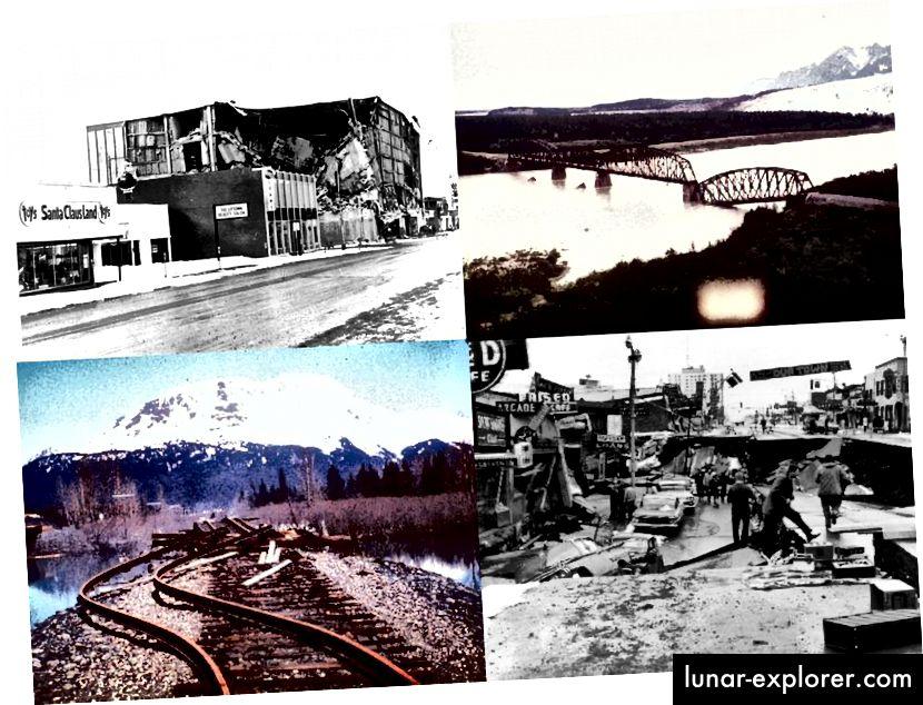 Šteta prouzročena potresom na Aljasci 1964. godine magnitude 9,2 rezultirala je s više od 100 smrtnih slučajeva i imovinskom štetom od preko 100 milijuna dolara. Uništeni su mostovi, željeznice, ceste, oprema, zgrade i još mnogo toga, što je dovelo do usvajanja radikalnih promjena u politici kako bi se obnovljeno sidrište učinilo otpornijim na neizbježne, buduće prirodne katastrofe. (USGS)