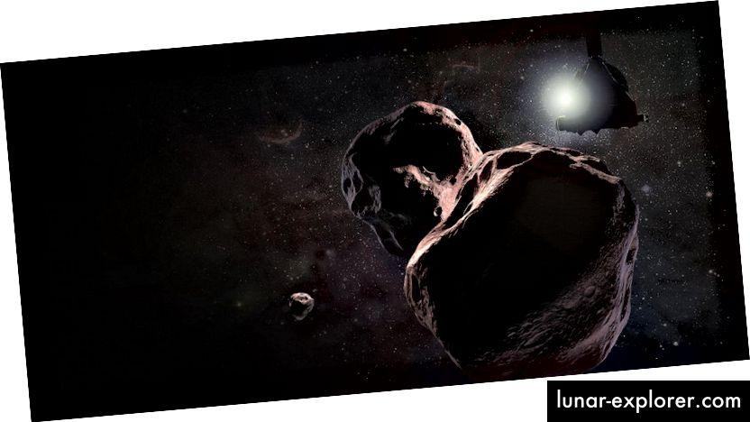 A művész benyomása a 2014-es MU69-ről, amely valószínűleg két szikla mozog együtt. Kép: NASA / JHUAPL / SwRI / Steve Gribben