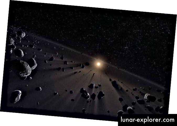 È possibile che sia Planet Nine sia un disco ghiacciato come quello qui raffigurato siano responsabili delle orbite degli oggetti della Cintura di Kuiper. Immagine di European Southern Observatory / M. Kornmesser.