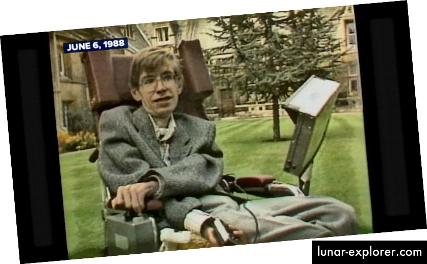 slika iz televizijskog intervjua iz 1988. godine koji promovira Kratku povijest vremena (ABC News)