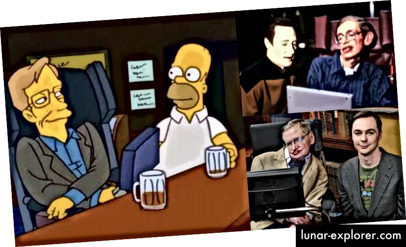 A Brief History of Time ha catapultato Hawking nel riconoscimento della cultura pop che appare accanto a icone come Commander Data, Sheldon Cooper e Homer Simpson (FOX / CBS)