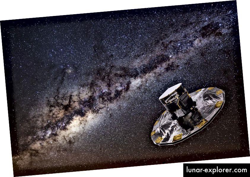 Satelit GAIA: Hak Cipta: ESA / ATG medialab; gambar latar belakang: ESO / S. Brunier