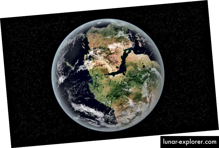 Pangea seperti itu seharusnya 335 juta tahun yang lalu. Alasan para ilmuwan memperkirakan ada maksimum 3 kali air lautan permukaan kita di zona transisi adalah karena jumlah air yang lebih besar akan mencegah mantel dari memecahkan pelat dan menciptakan benua yang kita miliki saat ini.