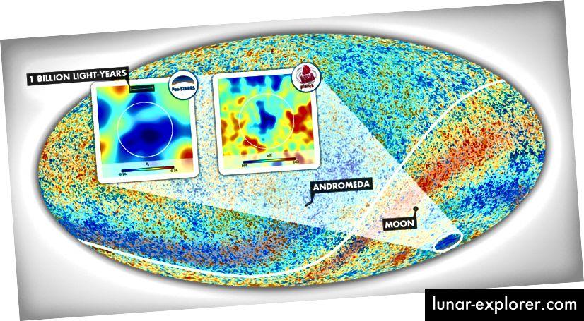 Ovdje se vidi Hladna mrlja koju je Szapudi preslikao pomoću PanSTARRS-a, a potom kasnije kao Planck-ov satelit. Slika ESA Planck suradnja.