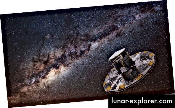 Kesan seniman terhadap satelit Gaia yang digunakan peneliti untuk mengamati aliran bintang terdekat (ESA)