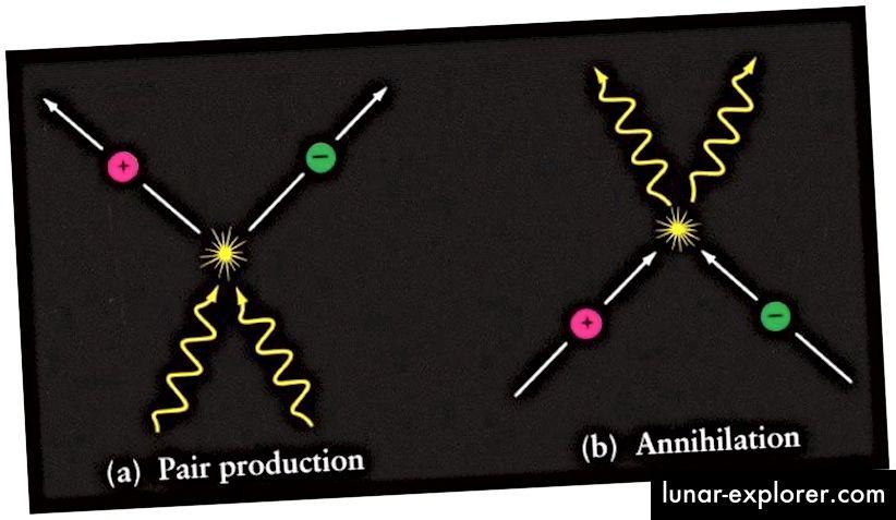 Produksi pasangan materi / antimateri (kiri) dari energi murni adalah reaksi yang sepenuhnya dapat dibalikkan (kanan), dengan materi / antimateri yang dimusnahkan kembali menjadi energi murni. Ketika sebuah foton dibuat dan kemudian dihancurkan, ia mengalami peristiwa-peristiwa itu secara bersamaan, sementara tidak mampu mengalami hal lain sama sekali. (DMITRI POGOSYAN / UNIVERSITAS ALBERTA)