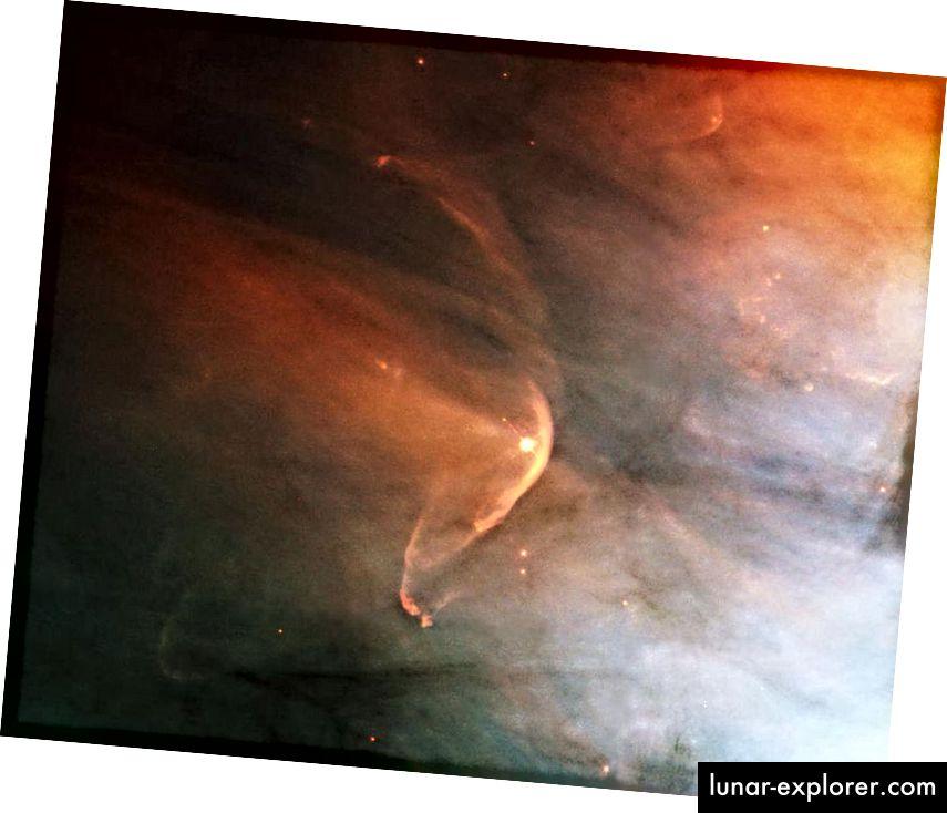 Mnogi primjeri zvijezda, maglina, plina, prašine i drugih oblika materije mogu se vidjeti kako djeluju unutar Mliječnog puta i izvan njega. U svakom slučaju vidimo puno dokaza o apsorpciji i emisiji, ali nema dokaza da je bilo koji astrofizički objekt prvenstveno sastavljen od antimaterije, a ne od materije. (HUBBLE HERITAGE TEAM (AURA / STSCI), C. R. O'DELL (VANDERBILT), NASA)