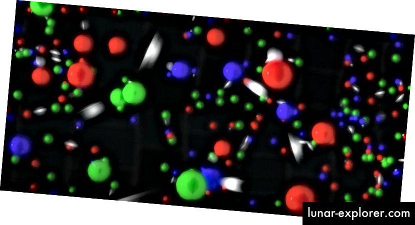 Pada suhu tinggi yang dicapai di Semesta yang sangat muda, tidak hanya partikel dan foton dapat dibuat secara spontan, diberi energi yang cukup, tetapi juga antipartikel dan partikel tidak stabil, menghasilkan sup partikel dan antipartikel purba. Namun bahkan dengan kondisi ini, hanya beberapa keadaan tertentu, atau partikel, dapat muncul. (BROOKHAVEN LABORATORIUM NASIONAL)