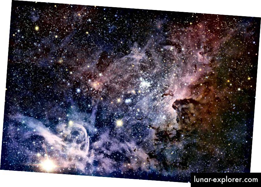 Gugus bintang muda di wilayah pembentuk bintang, terdiri dari bintang-bintang dari beragam massa. Beberapa dari mereka suatu hari nanti akan mengalami pembakaran silikon, memproduksi besi dan banyak elemen lainnya dalam proses tersebut. Namun, asal usul unsur yang paling berat membutuhkan proses yang berbeda. (ESO / T. PREIBISCH)