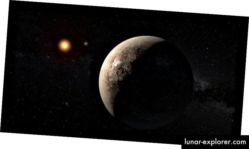 A művész átadta a Proxima b-t, amely körül kering a Proxima Centauri körüli körzetben. A 30 méteres osztályú távcsövekkel, mint például a GMT és az ELT, képeket képesek leszünk arra, hogy közvetlenül képeket képezzünk, valamint bármilyen külső, még nem észlelt világot. A távcsöveinkben azonban nem fog kinézni ilyesmiben. (ESO / M. KORNMESSER)