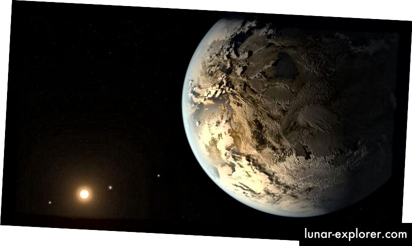 A művésznek a Kepler-186f exoplanet elképzelése, amely Föld-szerű (vagy korai, élettelen Föld-szerű) tulajdonságokkal rendelkezik. Mivel a képzelet szikrázó, mint az ilyen illusztrációk, ezek pusztán spekulációk, és a beérkező adatok egyáltalán nem nyújtanak ehhez hasonló nézetet. (NASA AMES / SETI INSTITUTE / JPL-CALTECH)