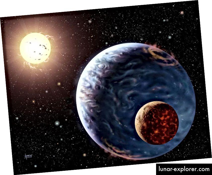 Illustrazione di un sistema esoplanetario, potenzialmente con un esomoone in orbita attorno ad esso. (NASA / DAVID HARDY, VIA ASTROART.ORG)