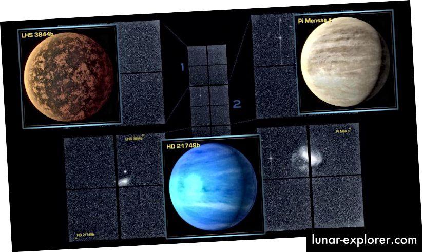 Centinaia di pianeti candidati sono stati scoperti finora nei dati raccolti e rilasciati dal Transiting Exoplanet Survey Satellite (TESS) della NASA, e otto di questi sono stati finora confermati da misurazioni di follow-up. Tre degli esopianeti più singolari e interessanti sono illustrati qui, con molti altri a venire. Alcuni dei mondi più vicini a essere scoperti da TESS saranno candidati per essere simili alla Terra e alla portata dell'imaging diretto. (NASA / MIT / TESS)