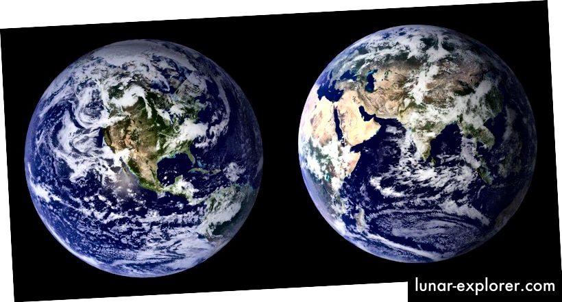 A Kék Márvány 2001–2002 közötti összetett képei, amelyeket a NASA Mérsékelt felbontású képalkotó spektrodiodiométer (MODIS) adataival készítettek. Amint az exoplanet forog, és az időjárási viszonyok megváltoznak, el tudjuk távolítani vagy rekonstruálhatjuk a bolygókontinentális / óceán / jégtábla arányok változásait, valamint a felhőborítás jelét (NASA).