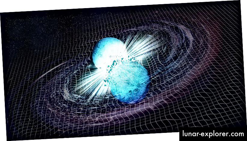 Künstlerische Darstellung einer Neutronensternfusion und der daraus resultierenden Welligkeiten im Zeit-Raum, die mit LIGO gemessen werden können