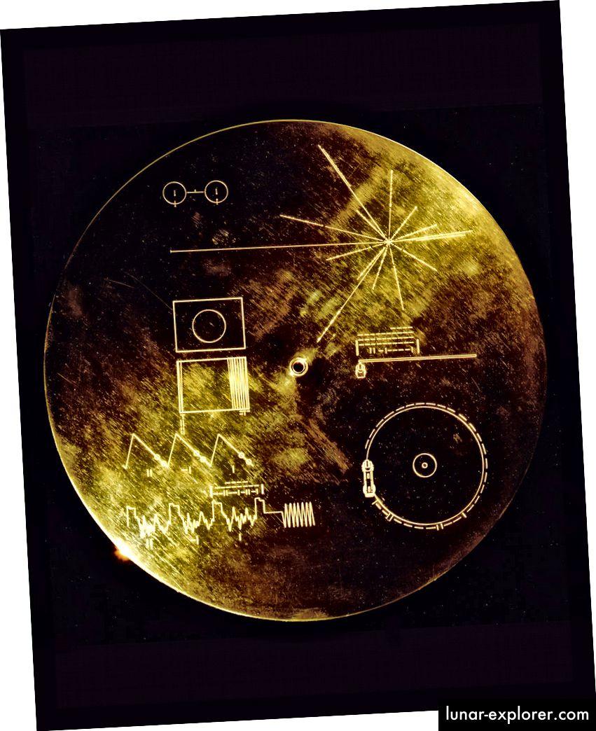 Kedua pesawat ruang angkasa Voyager membawa catatan yang terbuat dari emas dan aluminium, berisi salam dalam 60 bahasa, musik, dan gambar dari seluruh dunia. Gambar: NASA