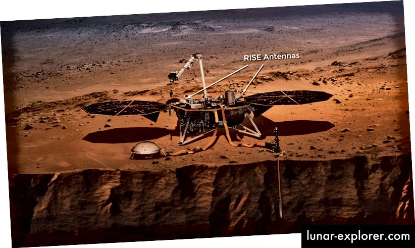 Kesan artis tentang antena RISE yang akan 'mendengarkan' goyangan Mars 'Kutub Utara (NASA)