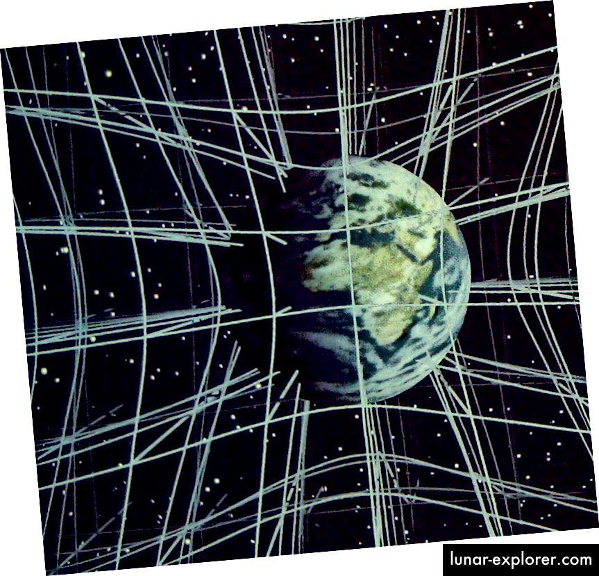 """Üres, üres, 3D-s rács helyett a tömeg lerakása azt eredményezheti, hogy az """"egyenes"""" vonalak egy adott összeget meghajlítanak. Az általános relativitáselméletben a helyet és az időt folyamatosnak tekintjük, de az energia minden formája, beleértve, de nem kizárólag a tömeget, hozzájárul az űridő görbületéhez. (A HÁLÓZATI KOLÓGIAI VITÁL ÉS A PRATT INTÉZET)"""