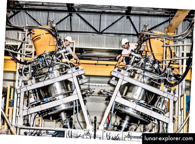A 2016-ban készített fénykép a Tri Alpha Energy (ma TAE Technologies) által épített fúziós reaktor prototípusának központi záróedényét mutatja. Fotó: Julian Berman