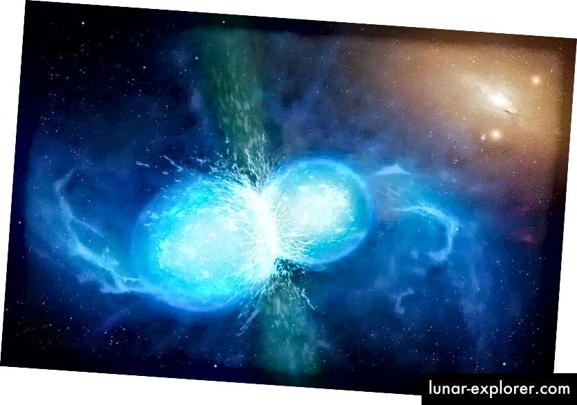 Negli ultimi momenti della fusione, due stelle di neutroni non si limitano a emettere onde gravitazionali, ma un'esplosione catastrofica che risuona attraverso lo spettro elettromagnetico. Allo stesso tempo, genera una serie di elementi pesanti verso l'estremità molto alta della tavola periodica. All'indomani di questa fusione, devono essersi sistemati per formare un buco nero, che in seguito ha prodotto getti collimati e relativistici che hanno sfondato la materia circostante. (UNIVERSITÀ DI WARWICK / MARK GARLICK)