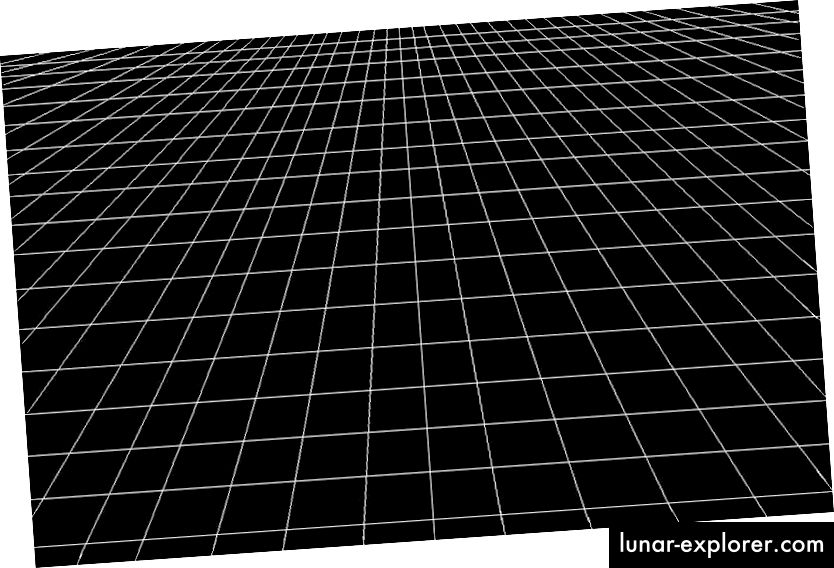 Die ursprüngliche Vorstellung von Raum, dank Newton, als fest, absolut und unveränderlich. Es war eine Bühne, auf der Massen existieren und sich anziehen konnten. (Amber Stuver, aus ihrem Blog, LIVING LIGO)