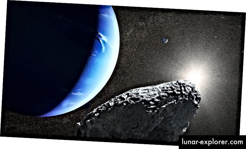 L'impressione di un artista di Ippocampo (in primo piano) in orbita attorno a Nettuno, con Proteus sullo sfondo. Questa luna è troppo piccola e distante per vedere i dettagli della superficie dalla Terra, anche usando il telescopio spaziale Hubble. Credito d'immagine: NASA, ESA e J. Olmsted (STScI)