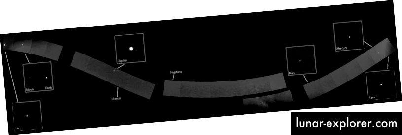 Pesawat ruang angkasa MESSENGER NASA telah membangun potret pertama Tata Surya kita dengan menggabungkan 34 gambar yang diambil oleh Wide Angle Camera milik pesawat ruang angkasa. Mosaik, disatukan bersama selama beberapa minggu, terdiri dari semua planet yang terlihat di Tata Surya. Meskipun posisi mereka ditunjukkan, Uranus dan Neptunus tidak terlihat. Perhatikan sebagian Bima Sakti yang terlihat di sebelah kiri Mars. (NASA, JOHNS HOPKINS UNIVERSITAS DITERAPKAN LABORATORIUM FISIKA, LEMBAGA FISIKA CARNEGIE, WASHINGTON)