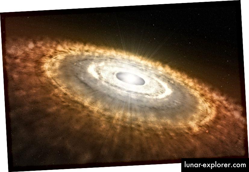 Künstlerische Darstellung eines jungen Sterns, umgeben von einer protoplanetaren Scheibe. Als die Kernfusion zum ersten Mal im zentralen Kern unserer Sonne entzündet wurde, sah unser Sonnensystem möglicherweise sehr ähnlich aus. (ESO / L. CALÇADA)