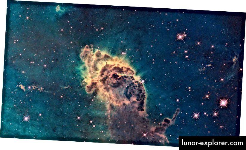 Die abgebildete Säule besteht aus Gas und Staub und befindet sich in einem stürmischen Sternenkindergarten namens Carina-Nebel, der sich 7500 Lichtjahre entfernt im südlichen Sternbild Carina befindet und von Hubble im sichtbaren Licht abgebildet wird. Die Sterne, die sich im Inneren bilden, haben wahrscheinlich alle die gleichen Elementverhältnisse, mit noch schwereren Elementen als unsere Sonne. (NASA, ESA UND DAS HUBBLE SM4 ERO TEAM)