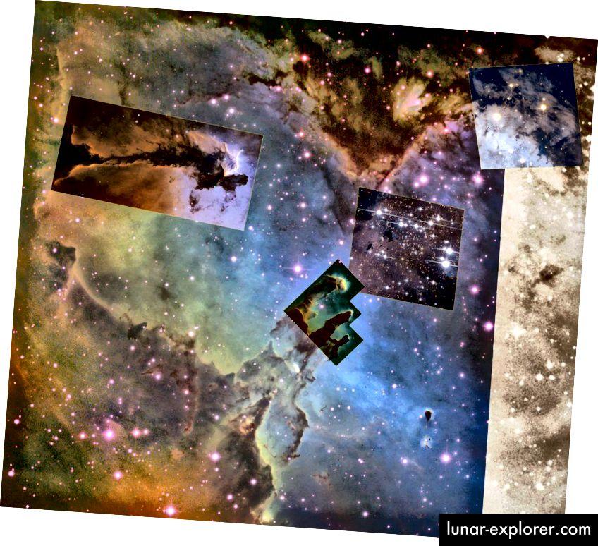 Der Adlernebel enthält Tausende neuer Sterne, einen brillanten zentralen Sternhaufen und verschiedene verdampfende gasförmige Kügelchen mit aktiver Sternentstehung und eigenen brillanten jungen Sternen. (NASA / ESA & HUBBLE; WIKISKY TOOL)