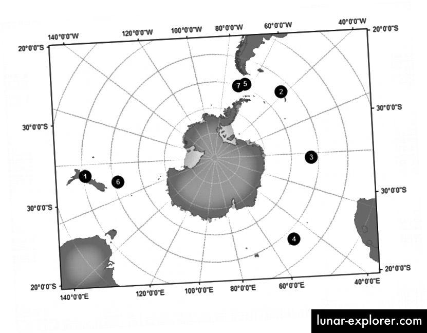 Gbr. 1 Lokasi terdampar (1) dan enam penampakan di laut (2-7) paus pembunuh subantarctic (Orcinus orca), tipe D. (doi: 10.1007 / s00300-0108-0871-3)