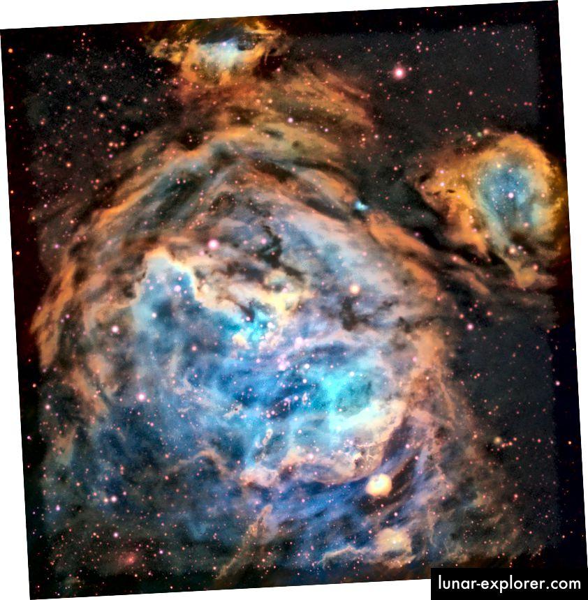 Wilayah yang mempesona dari bintang-bintang yang baru terbentuk di Large Magellanic Cloud (LMC) ditangkap oleh instrumen Multi Unit Spectroscopic Explorer pada ESO's Very Large Telescope. Jumlah debu yang relatif kecil dalam penglihatan akut LMC dan MUSE memungkinkan perincian rumit dari wilayah tersebut untuk dipilih dalam cahaya tampak (ESO, A McLeod et al)