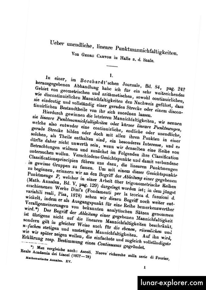 Georg Cantor (a sinistra) e il suo trattato in sei parti Über unendliche, lineare Punktmannichfaltigkeiten sulla rivista Mathematische Annalen.