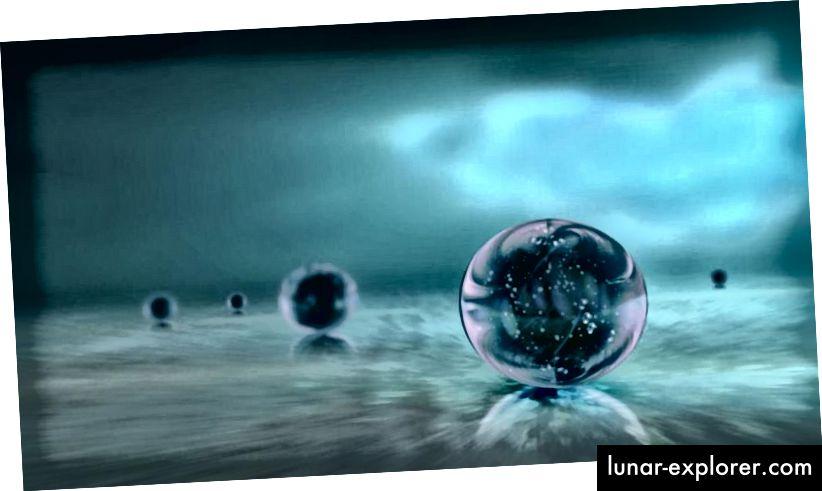 Ein Beispiel für die Idee des Multiversums ist die Darstellung mehrerer unabhängiger Universen, die in einem sich immer weiter ausbreitenden kosmischen Ozean kausal voneinander getrennt sind. (OZYTIVE / PUBLIC DOMAIN)
