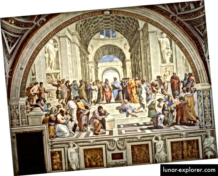 ラファエルによる「アテネの学校」。左下の角にはアナキシマンダーがあり、そこから最初に記録された無限のアイデアが生まれます。