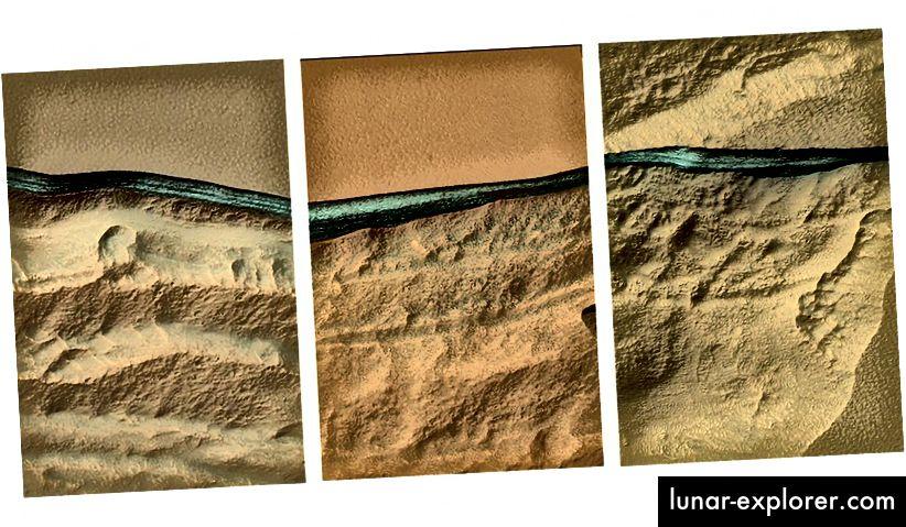 Potongan material pirus terletak tidak lebih dari 6 kaki di bawah tepian yang tererosi. Para ilmuwan percaya bahan ini menjadi es air. Gambar oleh NASA / JPL / University of Arizona.