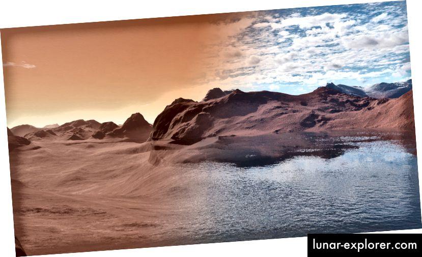 Penggambaran seperti apa permukaan Mars mungkin sekali waktu. Gambar oleh Jon Wade dan James Moore.
