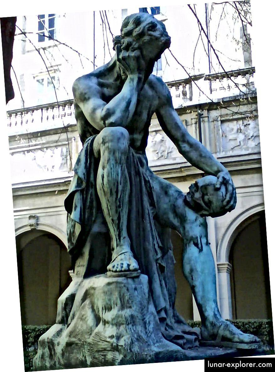 Léon-Alexandre Delhomme (1868), a lélek ülésén meditáló Democritus. Hitel: pubic domain