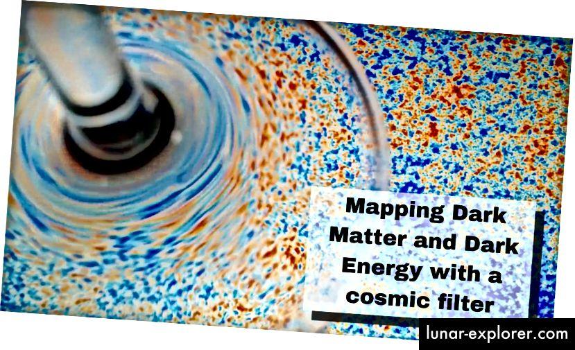 Nii nagu veiniklaas moonutab selle foto illustratsioonil kujutist, mis näitab temperatuurikõikumisi kosmilise mikrolaine taustal, võivad suured objektid, näiteks galaktikaparved ja galaktikad, moonutada seda valgust läätsedefektide tekitamiseks. (Autor: Emmanuel Schaan ja Simone Ferraro / Berkeley Lab)