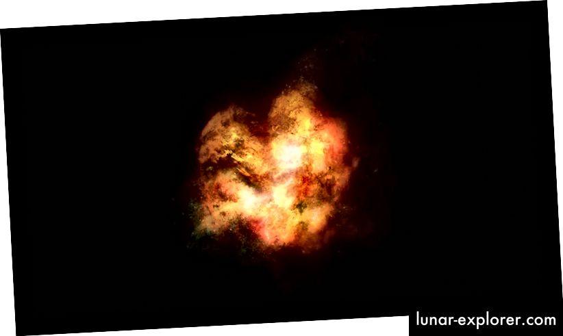Umjetnikovo shvaćanje onoga kako je možda izgledala rana galaksija. Aktivno stvaranje zvijezda, u kombinaciji s čestim zvijezdama, osvijetlilo bi plin između zvijezda, čineći galaksiju u velikoj mjeri neprozirnom, a ova bi tijela ostavila malu strukturu. Kreditna slika: James Josephides (Swinburne Astronomy Productions)