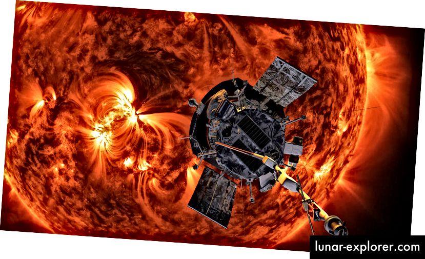 Illustrazione della sonda solare Parker che si avvicina al sole (Crediti: NASA / Johns Hopkins APL / Steve Gribben)