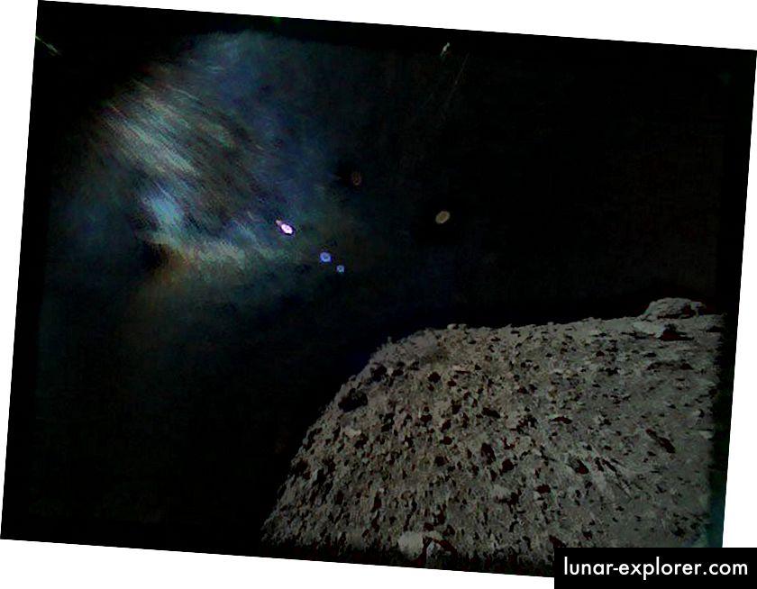 Questa è una straordinaria immagine di una vista da un asteroide catturato dal rover MINERVA-II1B il 21 settembre 2018, poco dopo la separazione dal veicolo spaziale Hayabusa2 della Japan Aerospace Exploration Agency. (Immagine di credito: Japan Aerospace Exploration Agency)