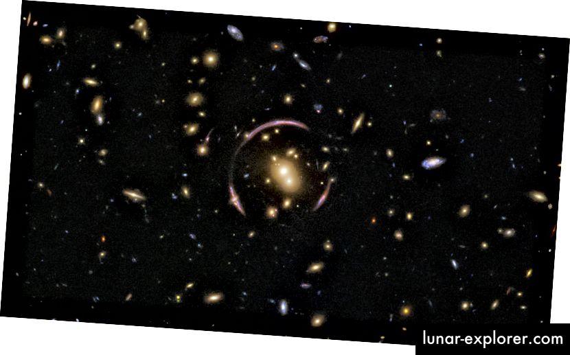 Kružna građevina slična luku koju možete ovdje promatrati zove se Einsteinov prsten, a snimio ga je Hubble. To se formira zbog izobličenja prostora-vremena galaksičkim klasterom kao što se ovdje vidi. (Bonusi za slike: ESA / Hubble & NASA; Priznanje: Judy Schmidt)