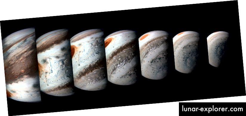 Taj slijed Jupiterovih slika nastao je iz podataka Junoovog Imagera 1. travnja 2018. (slikovni krediti: NASA / JPL-Caltech / SwRI / MSSS / Gerald Eichstädt / Seán Doran)