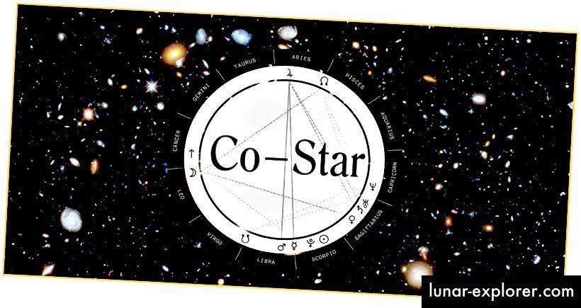 Приложението за астрология на Co-Star: Философия на зодиака НАСА за 21 век. Фонът е изображение на