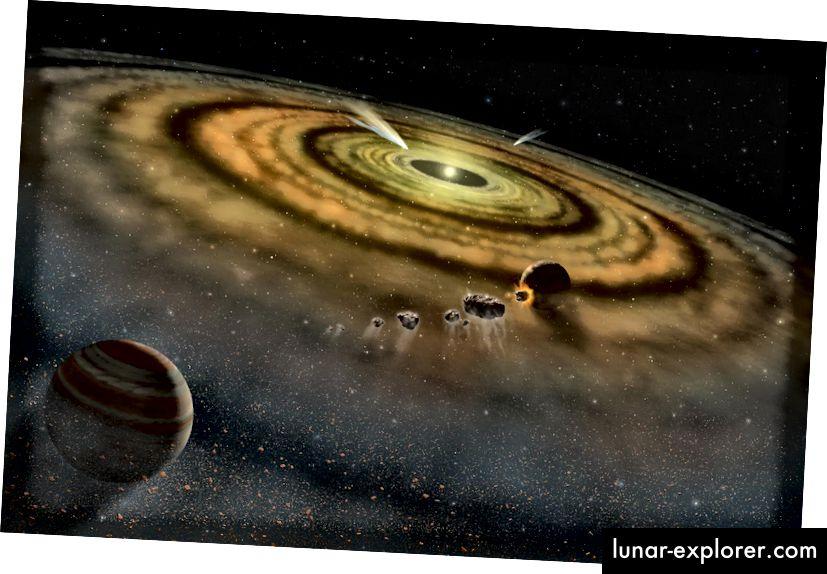 Künstlerische Vorstellung von Staub und Gas in der Umgebung eines neu gebildeten Planetensystems (NASA)