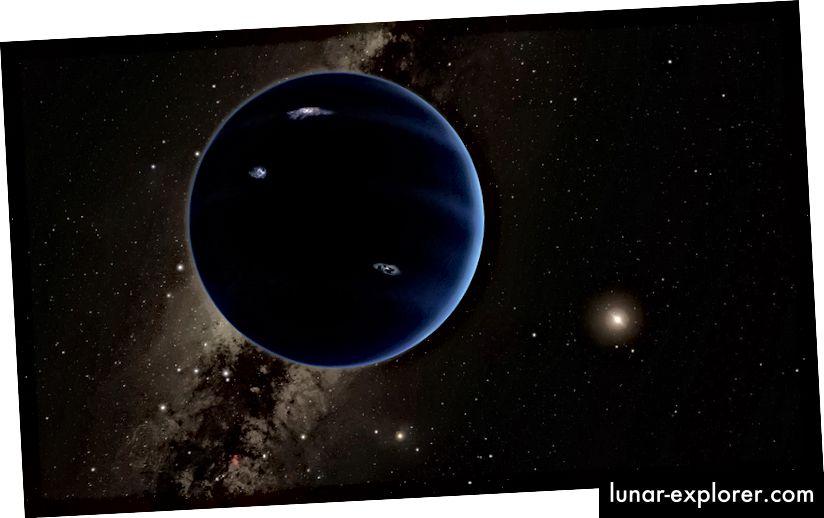 La conception d'un artiste de ce à quoi la planète 9 peut ressembler, gravitant autour du soleil lointain. Crédit image: Caltech / R. Blessé (IPAC)