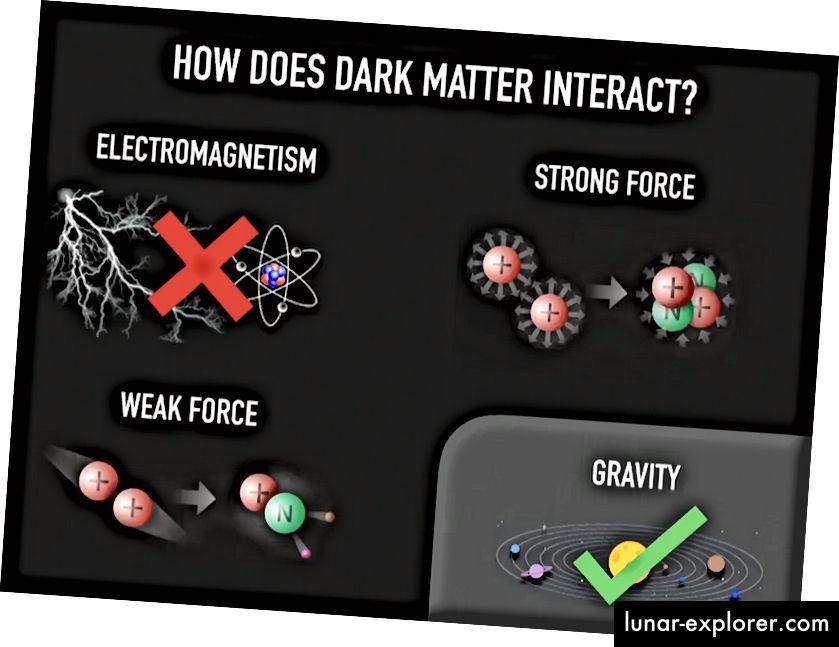 القوى الموجودة في الكون ، وعما إذا كان بإمكانهم الاقتران بالمادة المظلمة أم لا. الجاذبية هي اليقين ؛ جميع الآخرين إما لا أو مقيدة للغاية بالنسبة لمستوى التفاعل. (معهد PERIMETER)