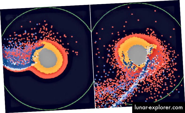 Simulazioni al computer che mostrano come il magma che copre la superficie della Terra primitiva avrebbe potuto alterare la formazione della Luna. Credito d'immagine: Hosono, Karato, Makino e Saitoh